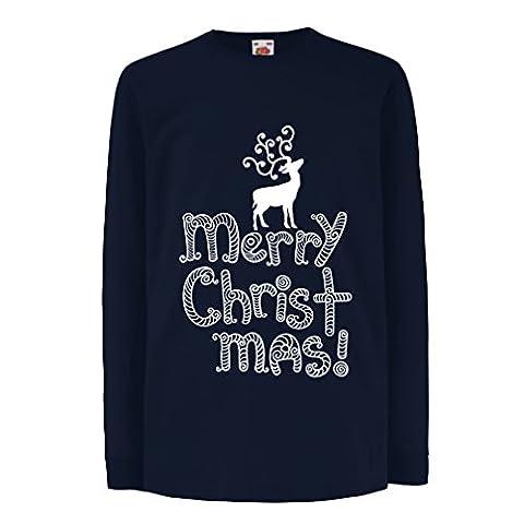 Kinder-T-Shirt mit langen Ärmeln Christmas clothes, Christmas gifts (3-4 years Blau Mehrfarben)