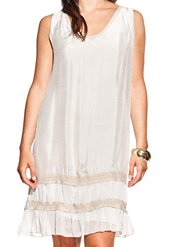 Laura Moretti - Robe en soie avec encolure en V et des bandes de tissu brillant Beige