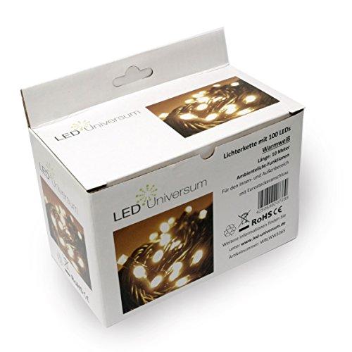 LED Universum WBLWW1065 LED Lichterkette warmweiß mit 100 LEDs Länge: 10 Meter (Stimmungsbeleuchtung spritzwassergeschützt, für innen und außen, Weihnachten, Feier, Wohnzimmer, Garten, Terasse)