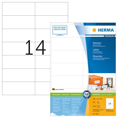 Herma 4625 Universal Etiketten (105 x 42,3 mm) weiß, 2.800 Aufkleber, 200 Blatt DIN A4 Premium...