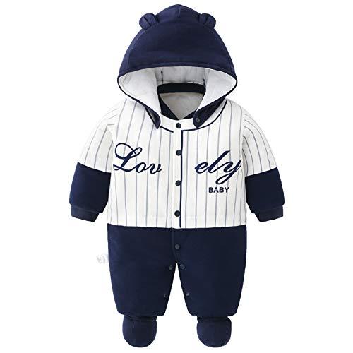 Baby Overall Mit Kapuze Füßlinge Strampler Schneeanzüge Karikatur Jumpsuit Unisex Winter Kleidungsset, 3-6 Monate