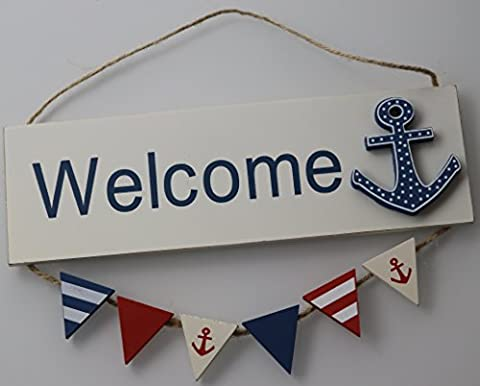 White & Blue Nautical Welcome Anchor Hanging