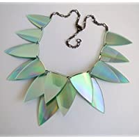 Dragon Scale iridescent statement necklace, upcycled CDs