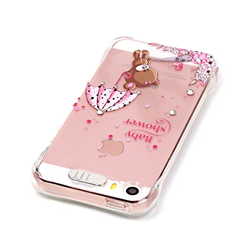 Coque iPhone SE, MOONCASE iPhone 5s Etui Ultra Mince Coque Housse Silicone Parfait Cover Case avec Absorption de Choc pour iPhone SE / 5S / 5 - YX02 Série de diamants - YX10