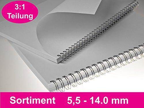 RENZ Drahtbinderücken STARTERSET 3:1 (5.5- 14,3 mm), 100 Stück , silber lackiert (Lackiert Draht)