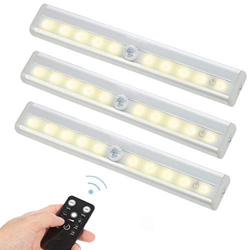 3 Pack Fernbedienung unter Cabinet Lighting Wireless Led Strip Lights Küche-Lichter, dimmbare Treppen-Nachtlichter Batterie betrieben für Schrank/Garderobe/Fach/Schrank, 10 LED Nachtlichter Stab -
