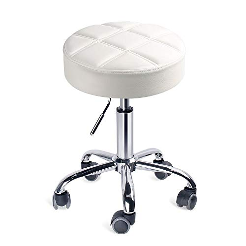 Leader Accessories Drehhocker höhenverstellbar Rollhocker Funktionaler Arbeitshocker Studiohocker im modernen Design Weiß