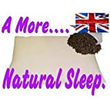 """ORGANIC BUCKWHEAT HUSK PILLOW,LARGER SIZE 28"""" X 17"""",(71 x 43 cm)3.6 KILO,BRITISH MADE . YOUR USUAL PILLOW IS AS MUCH USE AS A PAPER BAG IN A STORM"""