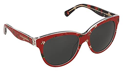 DOLCE & GABBANA unisex - adults 4176 Sunglasses, rose/flowers on red