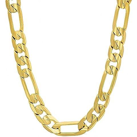7 mm, placcati oro 14 k, con Collana Figaro a catena