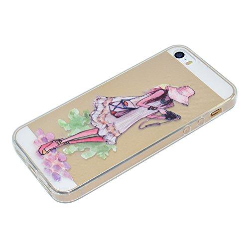 iPhone 5/5S Coque, Voguecase TPU avec Absorption de Choc, Etui Silicone Souple Transparent, Légère / Ajustement Parfait Coque Shell Housse Cover pour Apple iPhone 5 5G 5S SE (Fille avec un chapeau)+ G Fille avec caméra