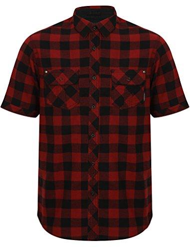 Dissident Herren Freizeithemd - Kurzarm (Rote) XL (Red Collared Shirt Männer)