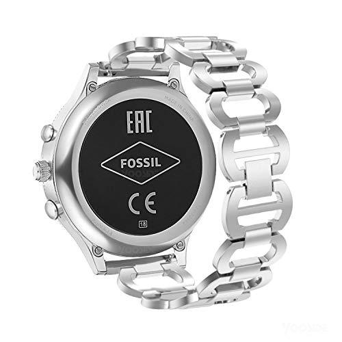YOOSIDE für Fossil Venture Armbänder, 18mm Poliert Edelstahl Aushöhlen Damen Ersatzarmband Uhrenarmband für Fossil Damen Gen 4 Sport, Fossil Venture Gen 4/Gen 3 (Silber) -