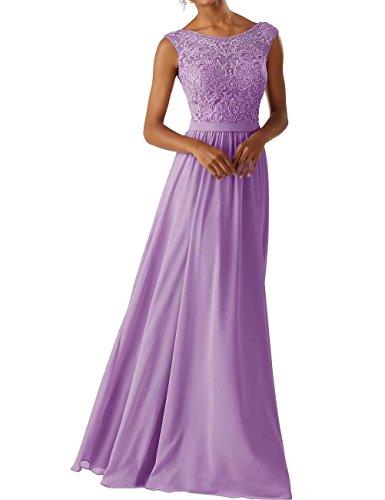 Frauen Chiffon Brautjungfer Kleider Sleeveless Lange Prom Abendkleider Lavendel Größe 42