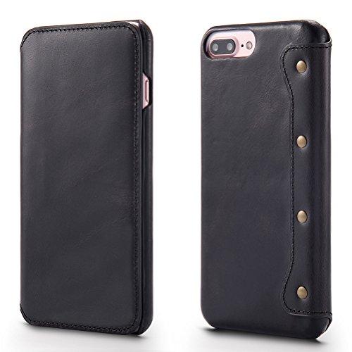 Cover iPhone 7 Plus Flip, Bestsky iPhone 8 Plus Custodia di Vera Pelle Cuoio di Retro Del Raccoglitore [Portafoglio] Libro Caso Protezione case per iPhone 7 Plus/8 Plus, Rosso Vino Nero