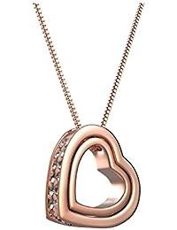 """starista Love You Forever grabado chapado en oro cristal austríaco collar con colgante forma de corazón para mujer de regalo de San Valentín Su 16""""+ 2"""