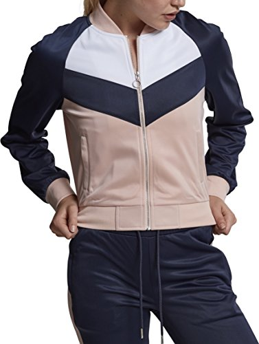 Urban Classics Damen Ladies Short Raglan Track Jacket Sweatjacke, Mehrfarbig (Light Rose/Navy/White 01223), Small -