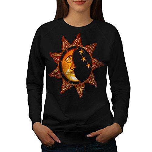 Soleil Lune journée Nuit Espace Femme S-2XL Sweat-shirt | Wellcoda Noir