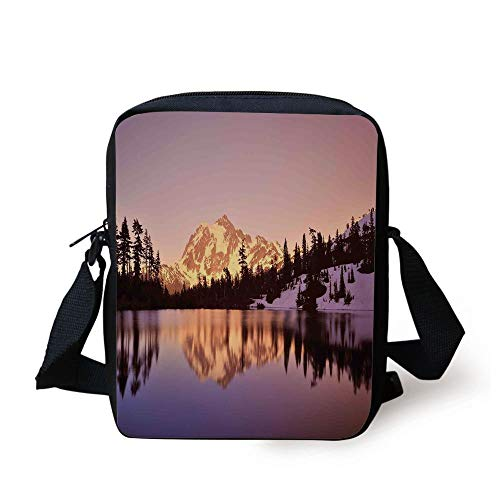 KLYDH Lake House Decor,Snow Capped Mt Shuksan and Lake at Sunset Evening View National Forest Washington,Yellow Purple Print Kids Crossbody Messenger Bag Purse -
