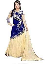 DS Fashion Blue Embroidered Dress Material Gown For Womens