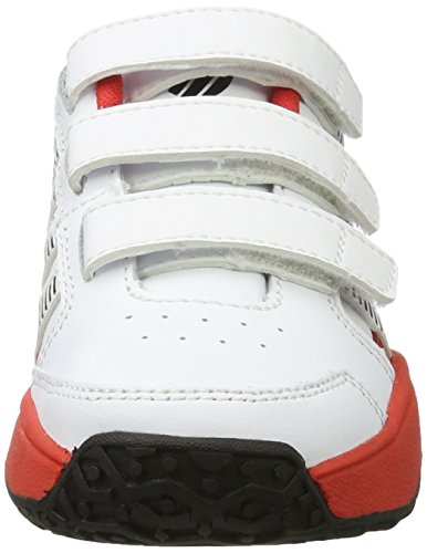 K-Swiss Performance Court Impact Ltr Omni Strap, Chaussures de Tennis Mixte Enfant Blanc (White/fiery Red/black)