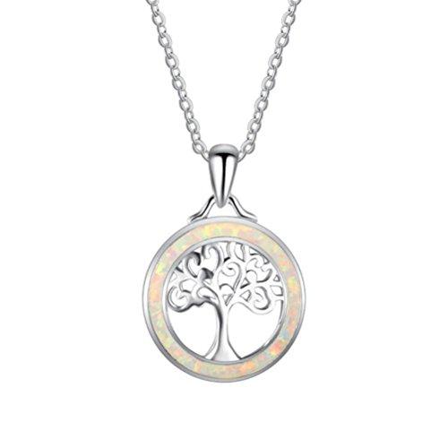 (AISHUAIGE Halskette Baum des Lebens Anhänger 925 Silber Halskette Schlüsselbein Kette Frauen Mode Temperament Schmuck Geschenke, Silber)