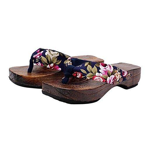 (Yvelands Damen Sommer Plattform Schuhe Holz Frauen Sandalen Clog Holzhausschuhe Flip Flops(Blau,37 EU))