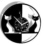 Instant Karma Disque Vinyle Horloge Vintage Cadeau Fait à la Main Chat-Couple de Chats