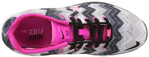 Nike Wmns Free 3.0 Flyknit, Chaussures de running entrainement femme BLACK/PINK FOIL/WOLF GREY/WHITE