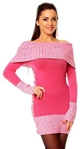 Zeta Ville - Damen Pullover aus Grobstrick Carmen-Ausschnitt Strick-kleid - 913z (Fuchsie, 38/42)