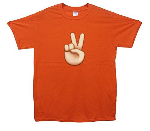 Peace Sign Hand Emoji T-Shirt Orange