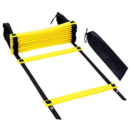 iheyfill 6M 12 Sprossen Sport Trainingsleiter Ladder Dauerhafte Fußball Koordinationsleiter mit Tasche