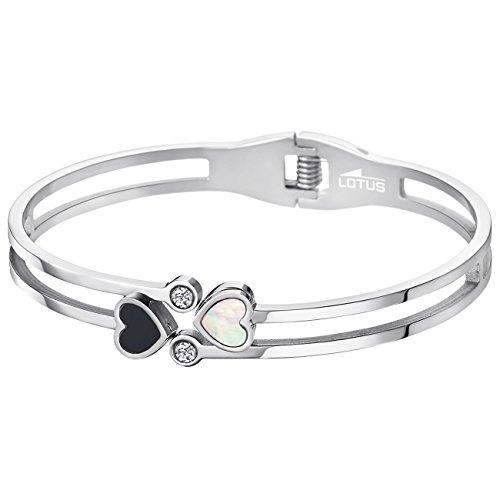 Lotus Style Bracelet Femme Cœur & Strass Bliss Acier, nacré et noir-LS1888-2/1
