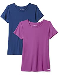 Marca Amazon - Amazon Essentials 2-Pack Tech Stretch Short-Sleeve Crewneck T-Shirt Mujer