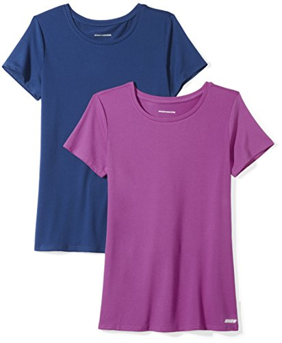 Amazon Essentials 2-Pack Tech Stretch Short-Sleeve Crew T Athletic-Shirts, Navy/Orchid, XX-Large