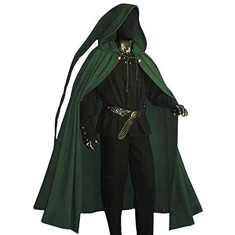 Moyen Age - Cape Médiévale A Capuche Longue - Accessoire Costume - Vert