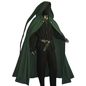 moyen age cape m di vale a capuche longue accessoire costume vert jeux et jouets. Black Bedroom Furniture Sets. Home Design Ideas