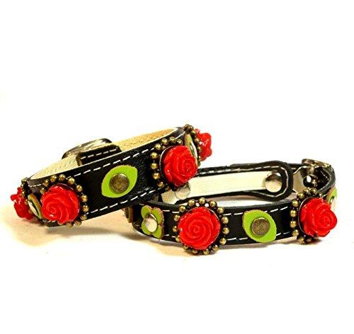 Superpipapo Set Katzenhalsband mit Elastisch Sicherheitsverschluss und Passendes Lederarmband | Einzigartig Gothic mit Rosen Rot und Grün Blätter Grün