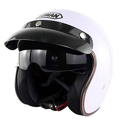 Casque de Moto à face ouverte, Demi casques Bols Vintage en d'un Style Avec sangle de déverrouillage Pour lunettes, Pour Scooter de vélomoteur Cruiser, certifié DOT Weiß L