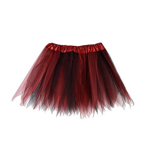 Mitlfuny Damen Vintage Elastisch Puffy TüLl TüTü RöCke Petticoat Ballett Blase Ballkleid Mehrfarbengroß UnterröCke Rainbow Bustle Skirt (Tanz Kostüm Mit Bustles)