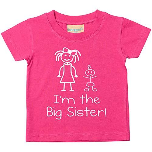 I'm the big sister rosa maglietta bambini piccoli disponibile nelle taglie 0-6 mesi to 14-15 years nuovo da bambino sorella regalo - rosa, 12-18 months