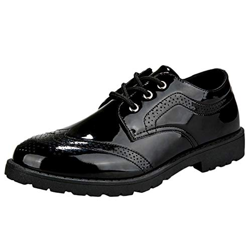 koperras Mens Oxford Patent Leather Shoes, Men's Polished Shoe British Fashion Casual Daily Dress School Shoes(US 7,Black) Youth Black Patent Schuhe
