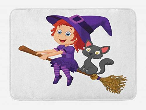 MSGDF Witch Bath Mat, Cute Happy Girl with Funny Cat Celebration Costume Joyful Party Halloween Childhood, Plush Bathroom Decor Mat with Non Slip Backing, 23.6 W X 15.7 W Inches, Multicolor