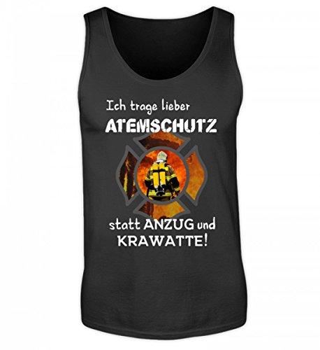 Hochwertiges Herren Tanktop - Feuerwehr Shirt Hoodie - Ich trage lieber Atemschutz statt Anzug und Krawatte! - Feuerwehrmann Feuerwehrfrau 112