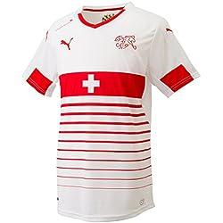PUMA para hombre camiseta de fútbol réplica de la camiseta Visitante Suisse Blanco White- Red Talla:small