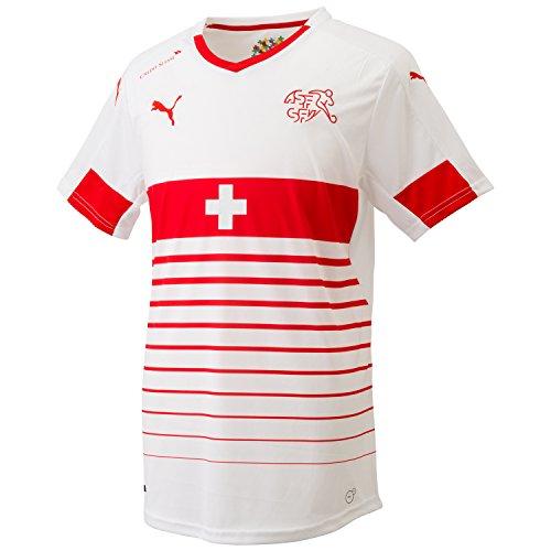 PUMA Herren Trikot Suisse Away Replica Shirt, White-Red, L, 748741 02