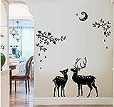 ZBYLL Weihnachten Fensteraufkleber Weihnachten Schwarz Fawn Silhouette Home Bad Dekoration Wand Aufkleber