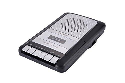"""Reflexion CCR8010 Kassettenrecorder Retro, tragbar, eingebautes Mikrofon und Lautsprecher, als Diktiergerät einsetzbar, """"One Touch"""" Aufnahme, AUX-In, Kopfhöreranschluss, Mikrofoneingang, schwarz / silber"""