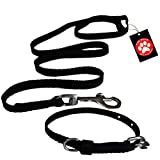 #9: Pawzone Puppy Black Leash With Collar Set - Small