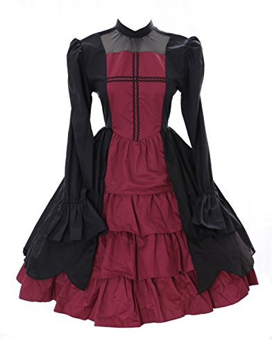 JL-655 Schwarz rot langarm Vampir Dark Gothic Lolita Kleid Kostüm Cosplay Kawaii-Story ()